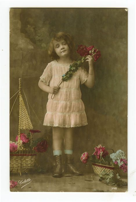 1910's Children Kids CUTE GIRL Child tinted photo postcard