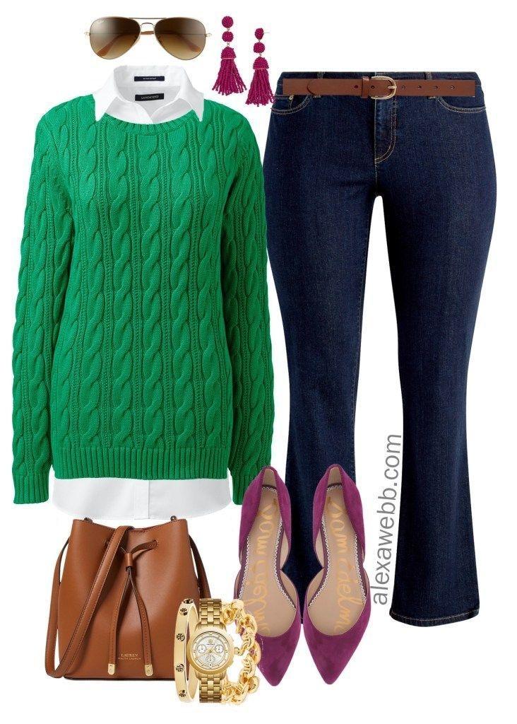 90316cd2a85 Plus Size Bright Sweater Outfit Ideas - Plus Size Green Sweater Outfit -  Plus Size Fall