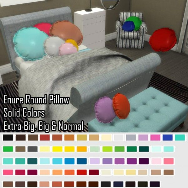 Enure Sims: Enure Round Pillow Solid Colors • Sims 4 Downloads