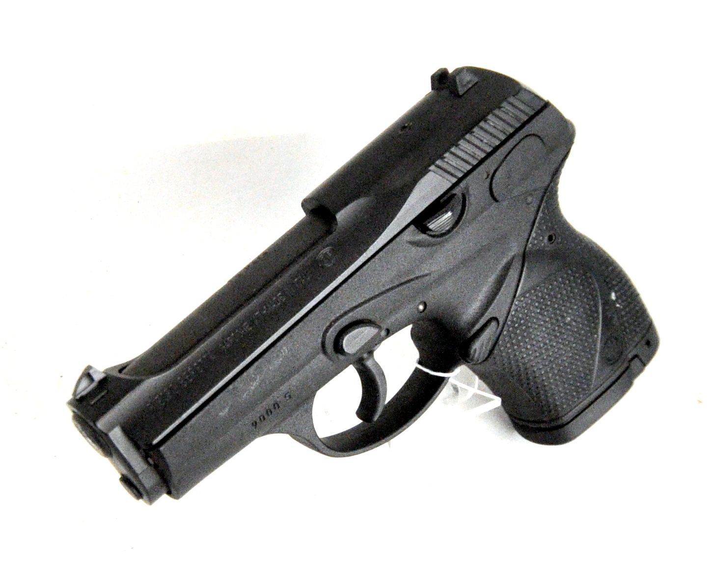 "Beretta 9000S D Model 9mm. The Beretta 9000 is a compact semi-automatic pistol, designed primarily for personal protection or as concealed carry (CCW). It features a contoured grip, ambidextrous magazine release, and fixed 3-dot sights. D Model means DAO with no external safety. 12-round capacity of 9mm. 3.5"" barrel. 26 oz. [Pre-Owned] $379.99"