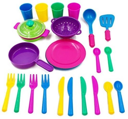 Play Kitchen Dishes kids tableware playset 27 pc kitchen dishes set toddler pretend