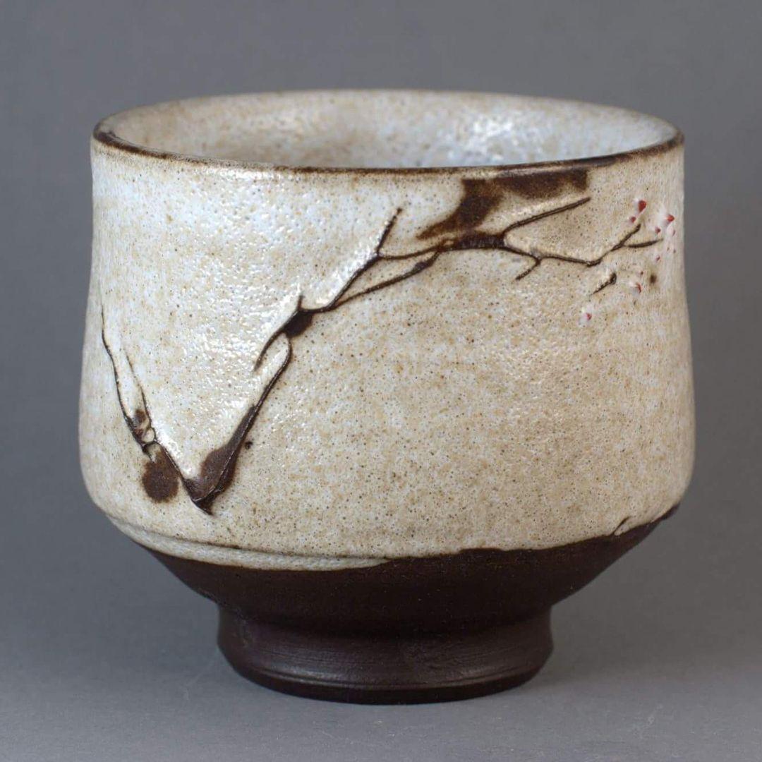8 Wheel Thrown Stoneware Bowl with crackle slip