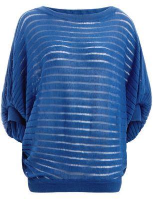 Apricot Blue Mesh Stripe Batwing Top