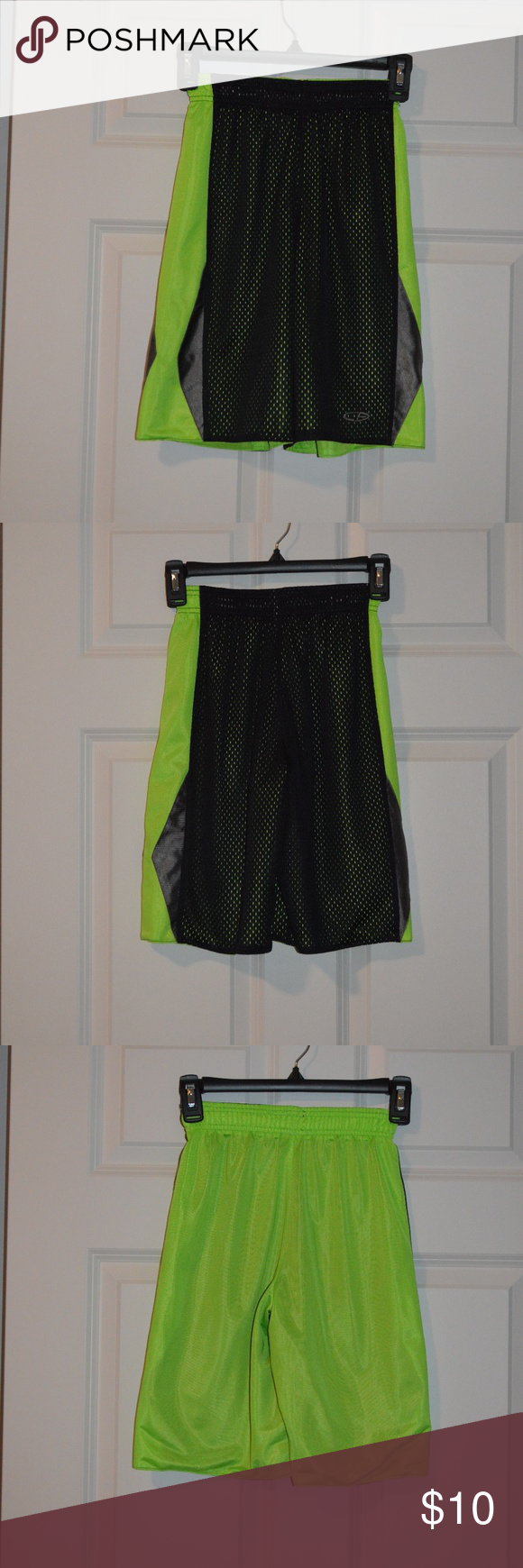 bd138a046b4f Boys Size Medium Reversible Athletic Shorts Boys Size Medium C9 Champion  Reversible Mesh Black Neon Green Athletic Shorts. No pockets.