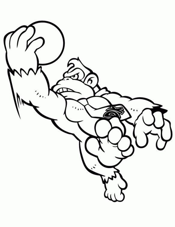 Donkey Kong Playing Basketball Coloring Page