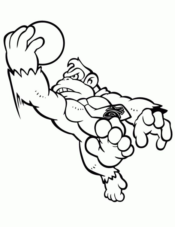 Donkey Kong Playing Basketball Coloring Page Cool Coloring Pages