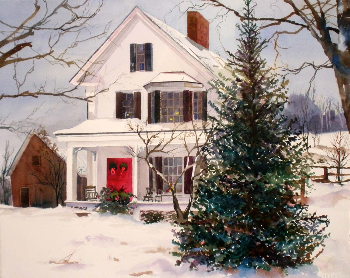 farmhouse christmas | 16x20 watercolor scene of white farmhouse decked out for Christmas ...