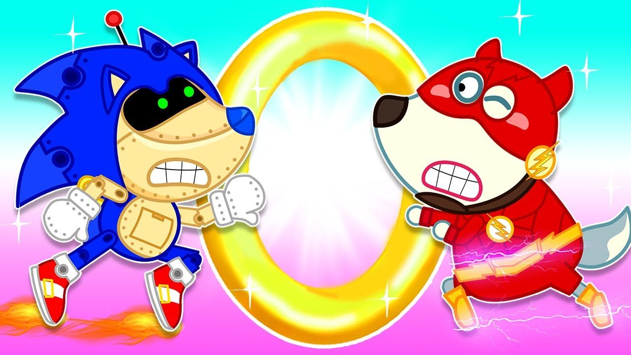 Wolf Family Wolfoo The Flash Vs Super Sonic Toy For Golden Ring In 2020 Funny Cartoon Gifs Flash Vs Cartoon Kids
