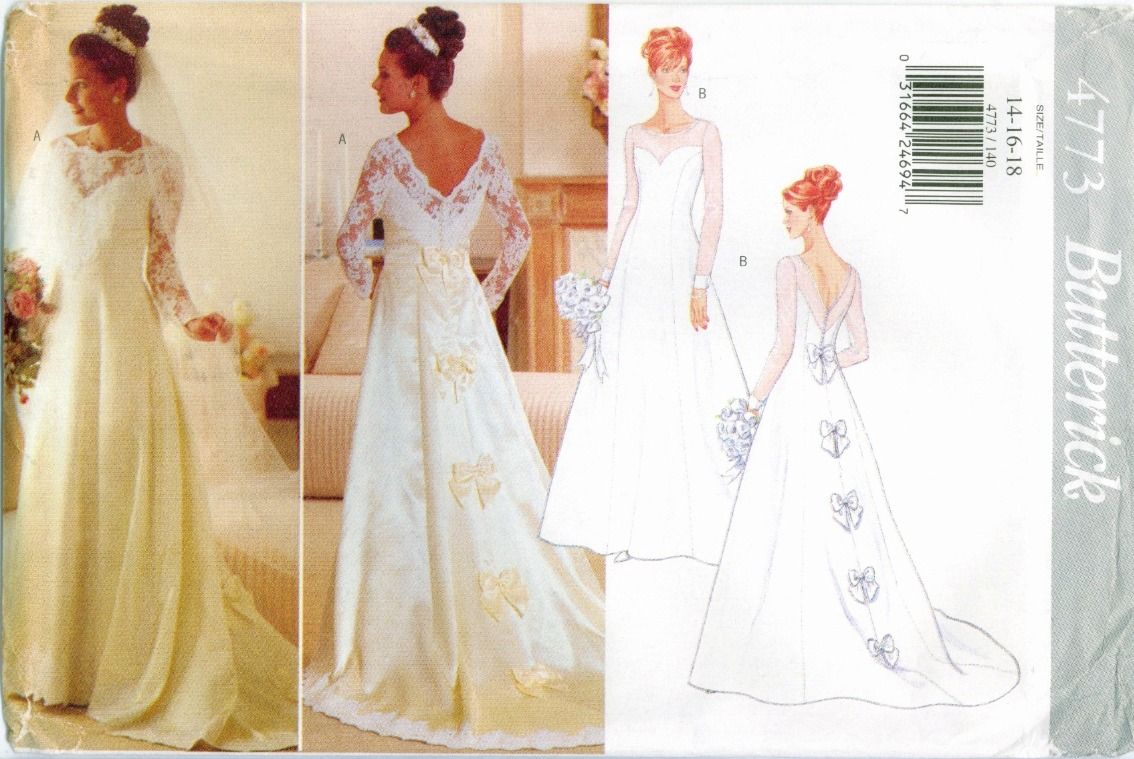 Butterick 4773 Misses Bridal Gown Wedding Dress Pattern Vtg 14 16 18 Uncut Ff Wedding Gown Patterns Wedding Dress Sewing Patterns Gown Pattern [ jpg ]