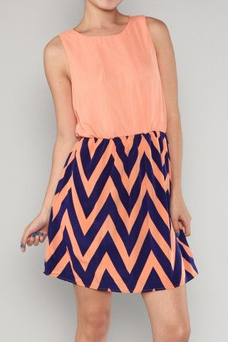 Brianna Chevron Scoop Neck Dress | Freckles Boutique