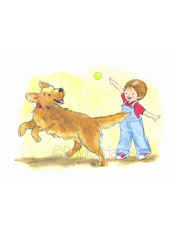 Little Boy And Golden Retriever Play Fetch Boy S Wall Art Dog