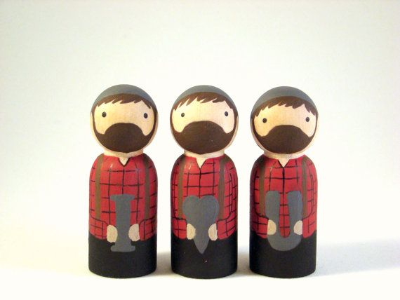 i heart you Lumberjacks  wood peg people dolls by Pegged on Etsy.... perfect V-day gift for the manly man!