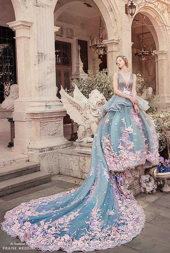 Utterly blown away by this fairytale-inspired pastel floral gown ...