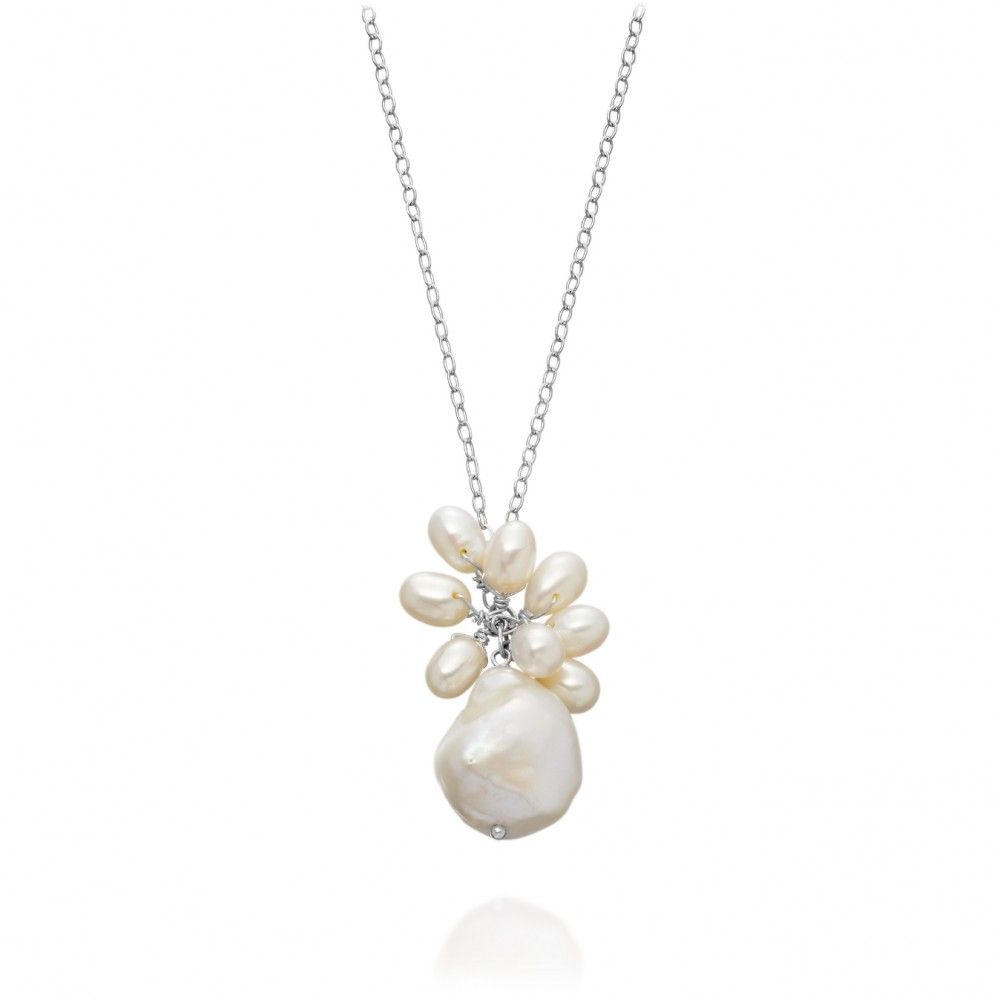 Stylish white baroque and seed pearl pendant in sterling silver from New York design house Manhattan Pearls, exclusively from astleyclarke.com, $85