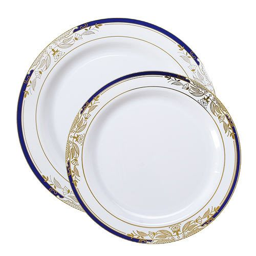 Plastic Plate Set Signature White With A Blue Gold Rim