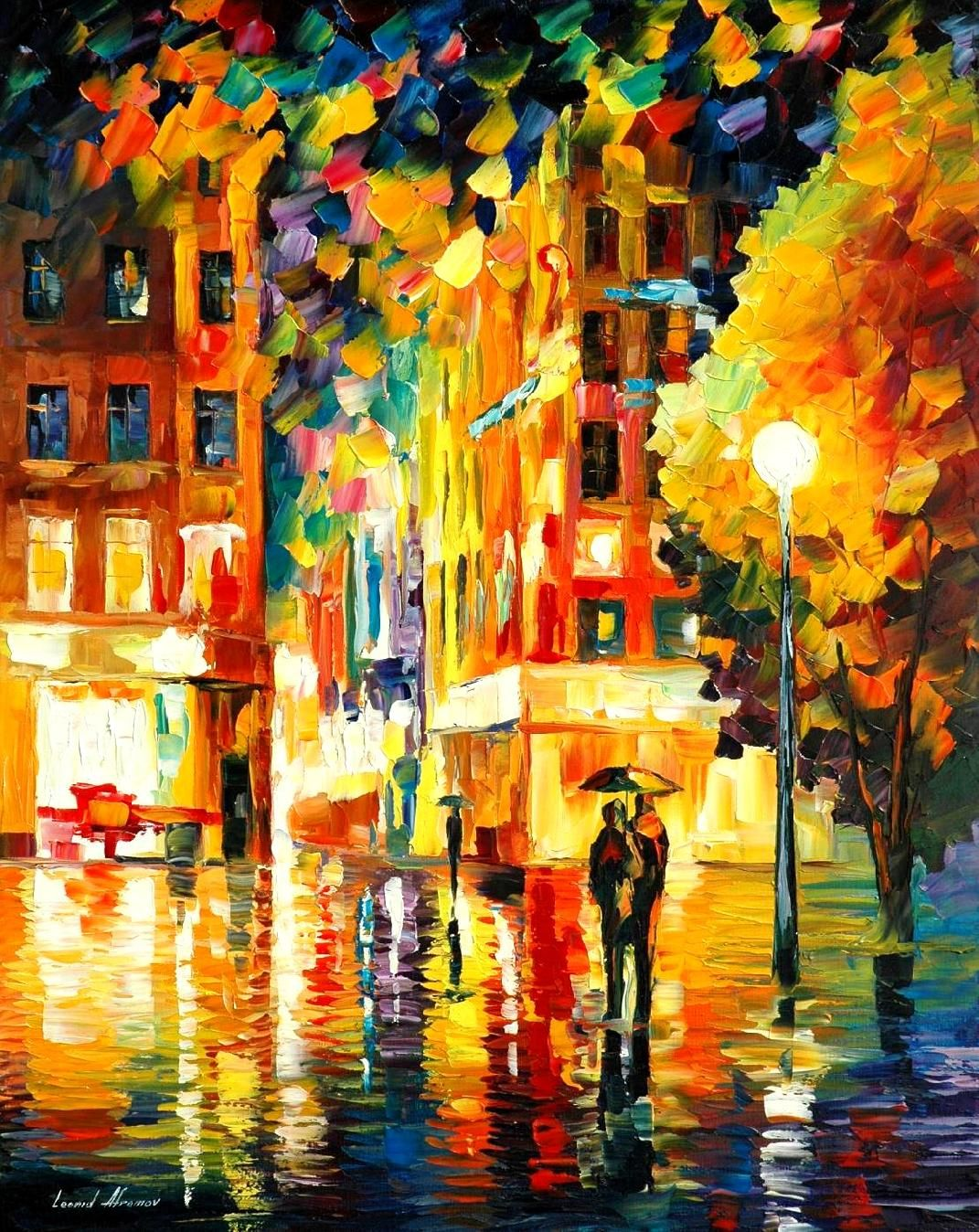 NIGHT IN NEW-YORK — PALETTE KNIFE Oil Painting On Canvas | Paintings ...