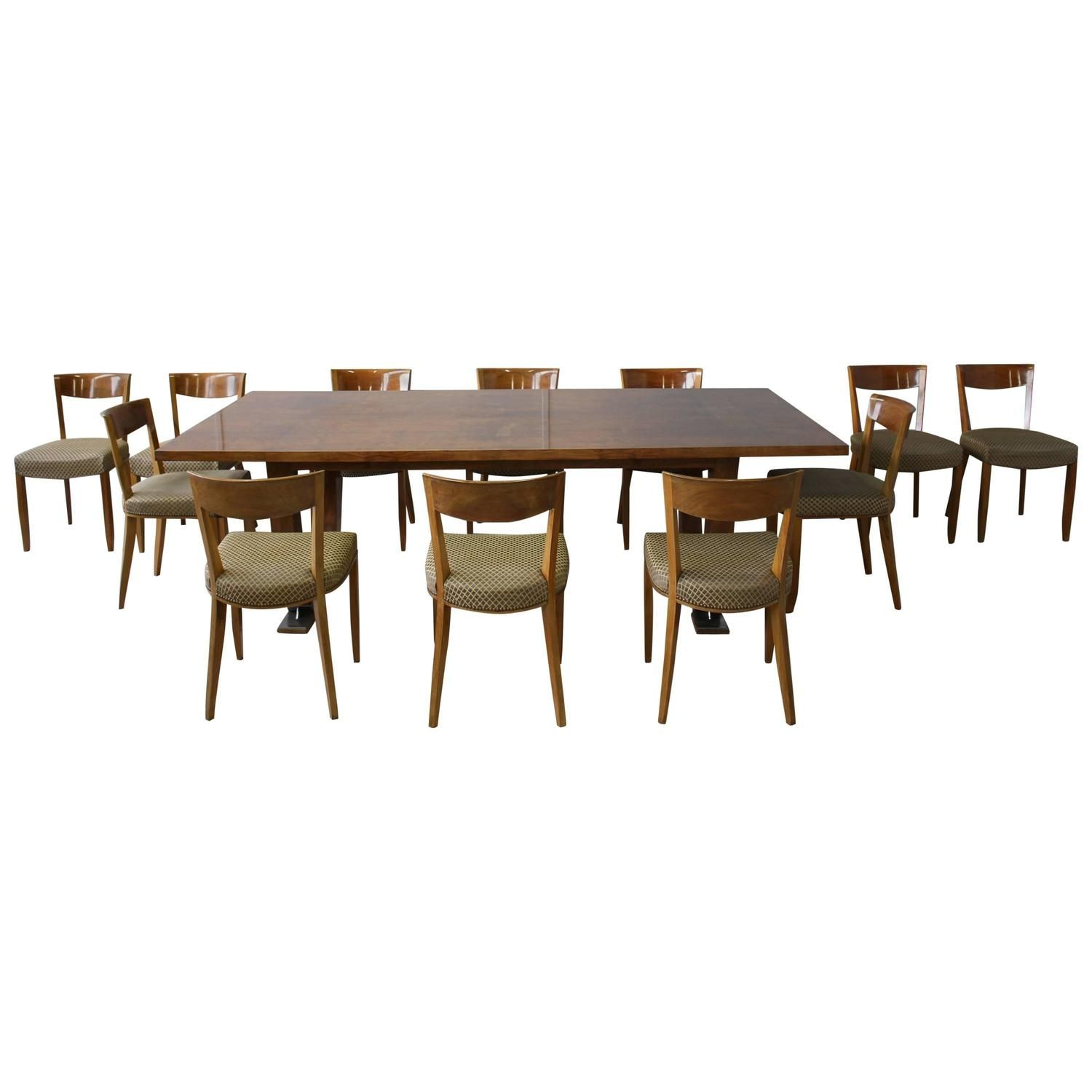 Fine French Art Deco Dining Set by Leleu, Large Table and 12 Chairs | From a unique collection of antique and modern dining room tables at https://www.1stdibs.com/furniture/tables/dining-room-tables/