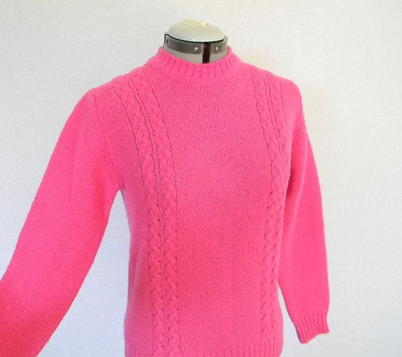 Vintage Pullover Sweater Hot Pink Pure Wool by ChickClassique ...