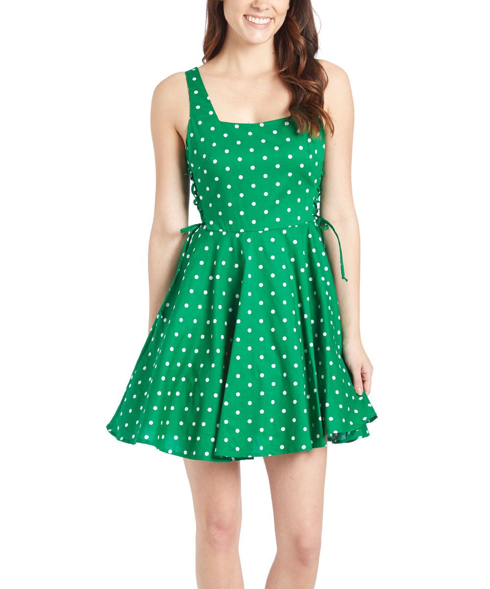Look at this Bailey Blue Kelly Polka Dot Lace-Up Detail Fit & Flare ...