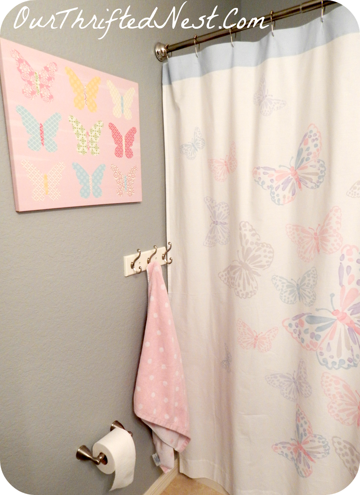 Bathroom Decor: Small Little\'s Girl\'s Butterfly Pink, Gray, Blue ...