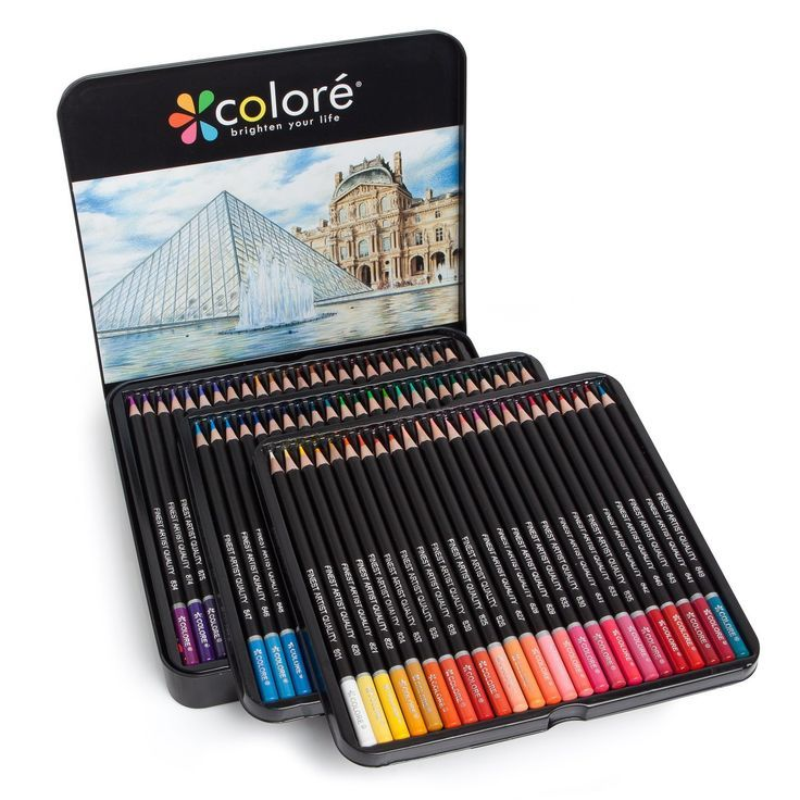 Castle Art Supplies 72 Coloured Pencil Set for Adult Colouring Books or Kids School Supplies Premium Artist Soft Series Lead with Vibrant Colours