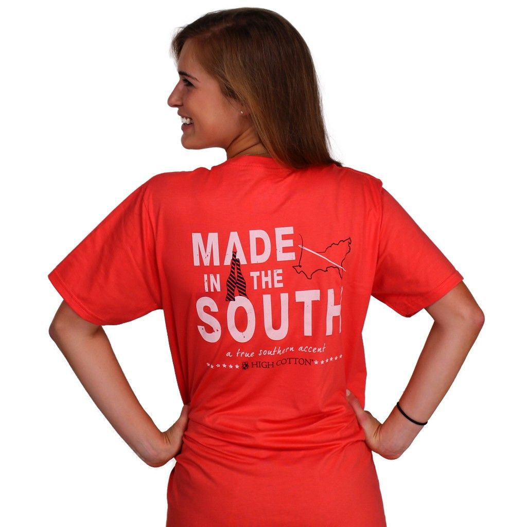 """""""Made in the South"""" Pocket Tee in Coral Red by High Cotton"""