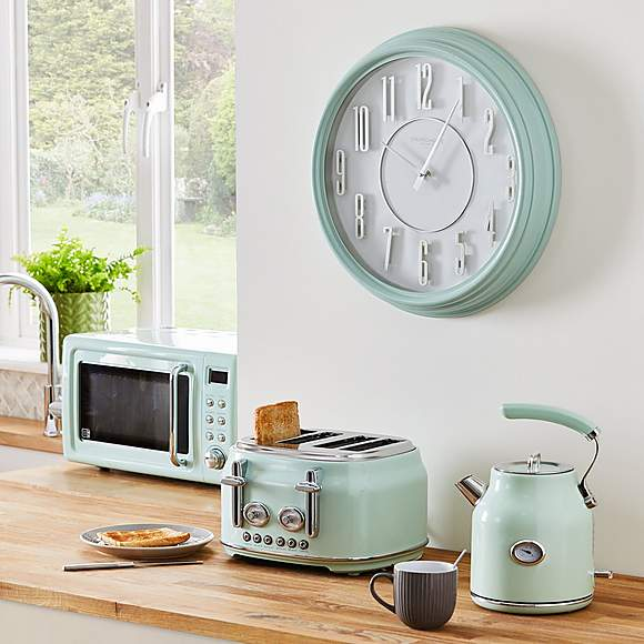 Retro 46cm Wall Clock Mint Green In 2020 Mint Green Walls Mint Kitchen Walls Green Clocks