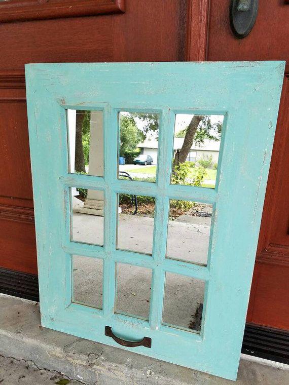 On Sale Rustic Teal Farmhouse Window Mirror Window Pane Sale Rustic Window Mirror Shabby Chic Mirror