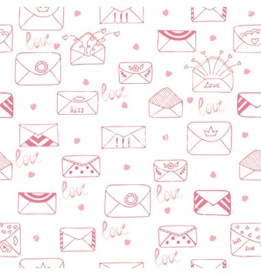 Romantic seamless pattern cute background vector love mail doodles - mail background
