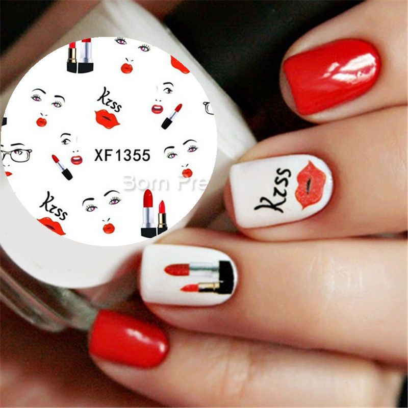 Nail Art Water Decals Transfer Stickers Red Lip Fashion Girl