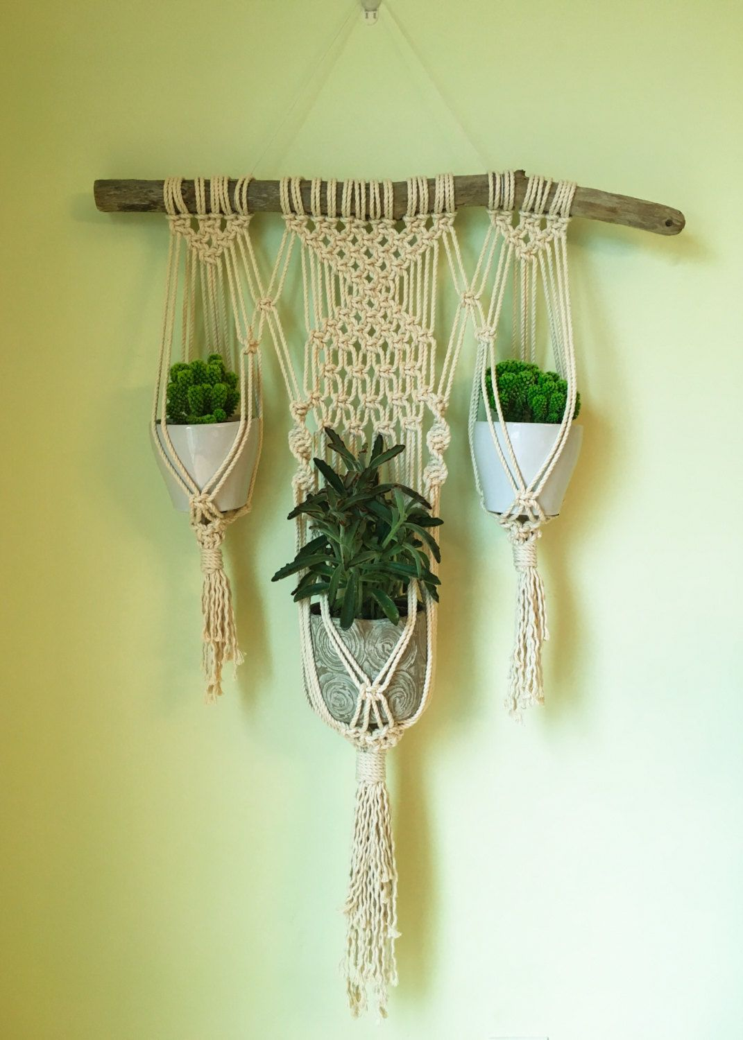 macrame wall plant hanger suspension macram et mur. Black Bedroom Furniture Sets. Home Design Ideas