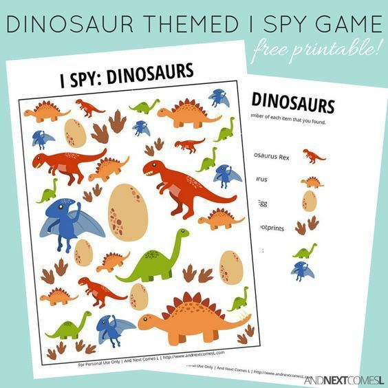 Dinosaur Themed I Spy Game {Free Printable For Kids} Spy Games For Kids, Dinosaur  Theme Preschool, Dinosaur Activities