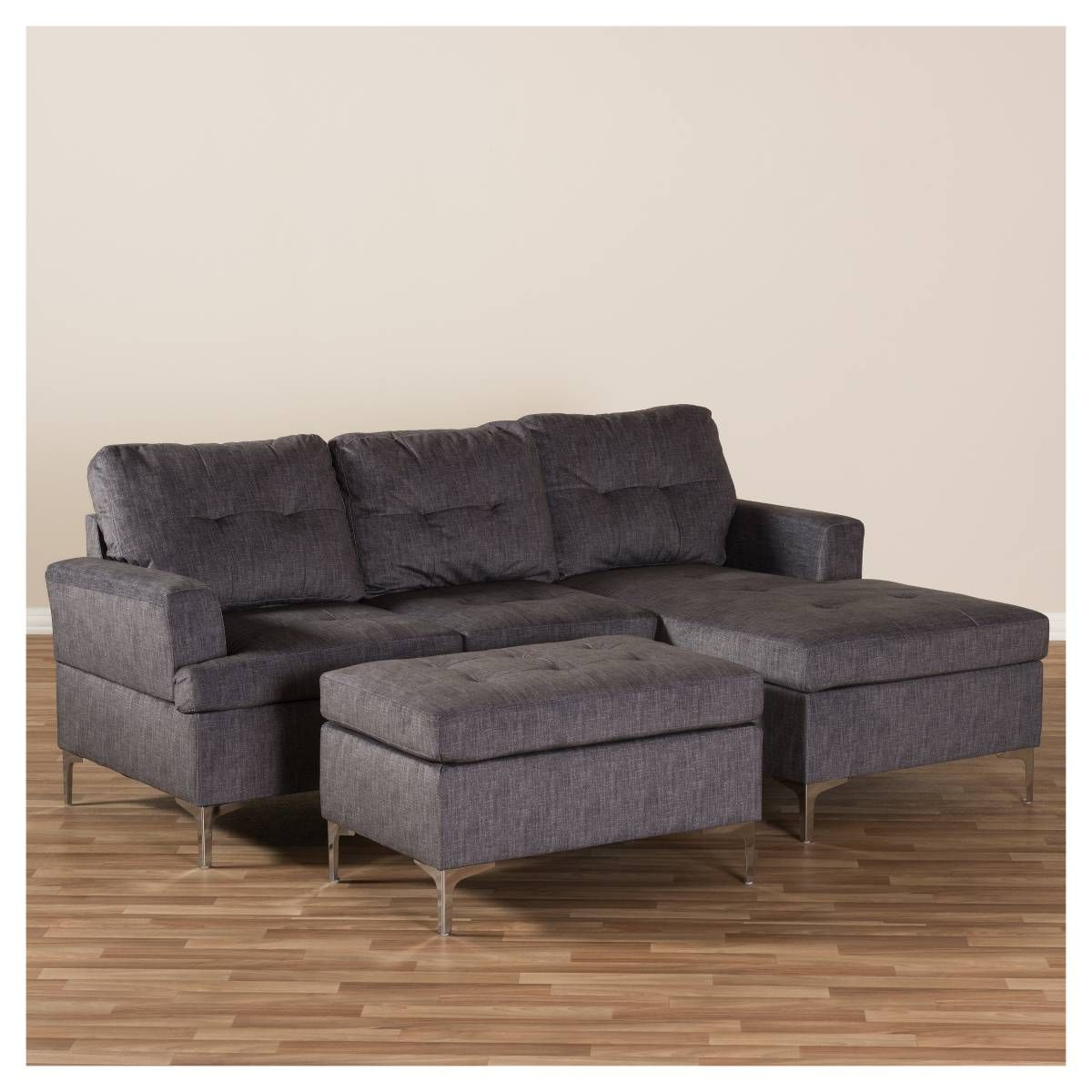 Riley Modern and Contemporary Fabric Upholstered 3 - Piece ... on Riley 3 Piece Sectional Charleston id=42825