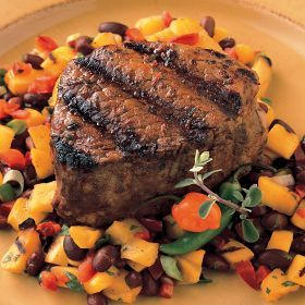 Chipotle Grilled Filets with Black Bean-Roasted Mango Salsa