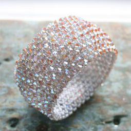 Swarovski Crystal Sparkly Beaded Cuff Bracelet - Studio at Penny Lane - Beadworthy