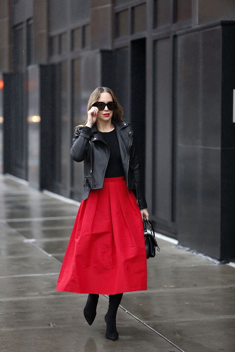 Holiday Dressing: Leather Jacket & a Red Full Skirt | Brooklyn Blonde