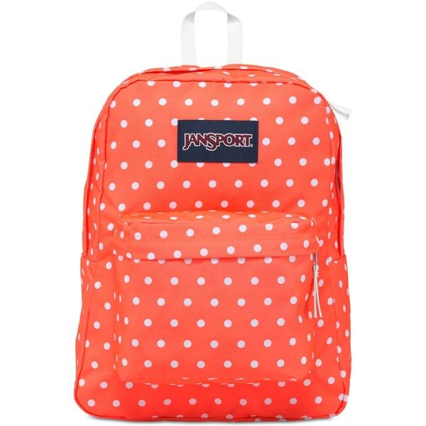 Jansport Superbreak Backpack in Tahitian Orange with White Dots ($36) ❤ liked on Polyvore featuring bags, backpacks, tahitianor, polka dot bags, polka dot backpack, orange backpack, white rucksack and knapsack bag
