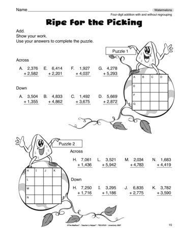 A great math worksheet for four-digit addition. A fun review ...