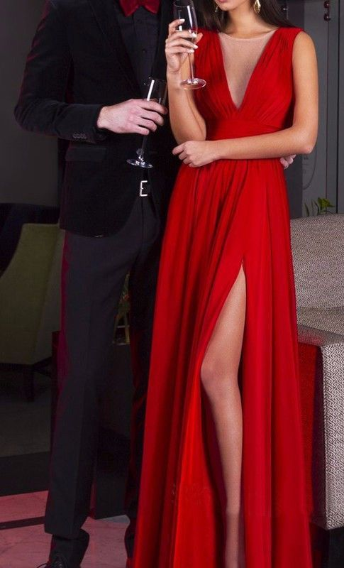 27d8132f9cf Long Sexy Red A-line V-Neck Sleeveless Split Front Prom Dresses 2019 ...