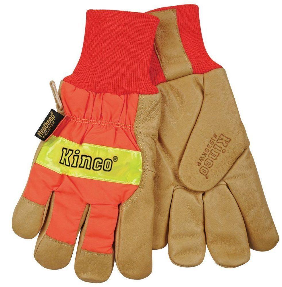 Kinco 1938kwp Mens Hi Vis Work Gloves Lined Waterproof Leather Thermal Safety Ebay Pig Skin Work Gloves Gloves Winter