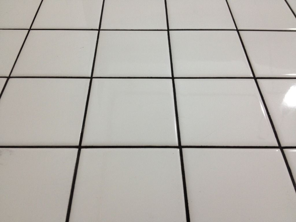 White Floor Tile With Black Grout Just