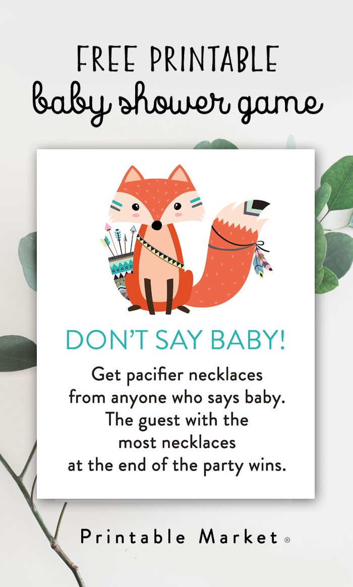 photo about Free Don't Say Baby Printable referred to as Absolutely free Little one Shower Match Woodland Fox - Dont Say Child