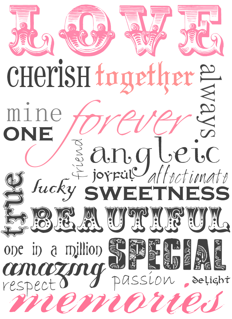 Printable Love Word Art