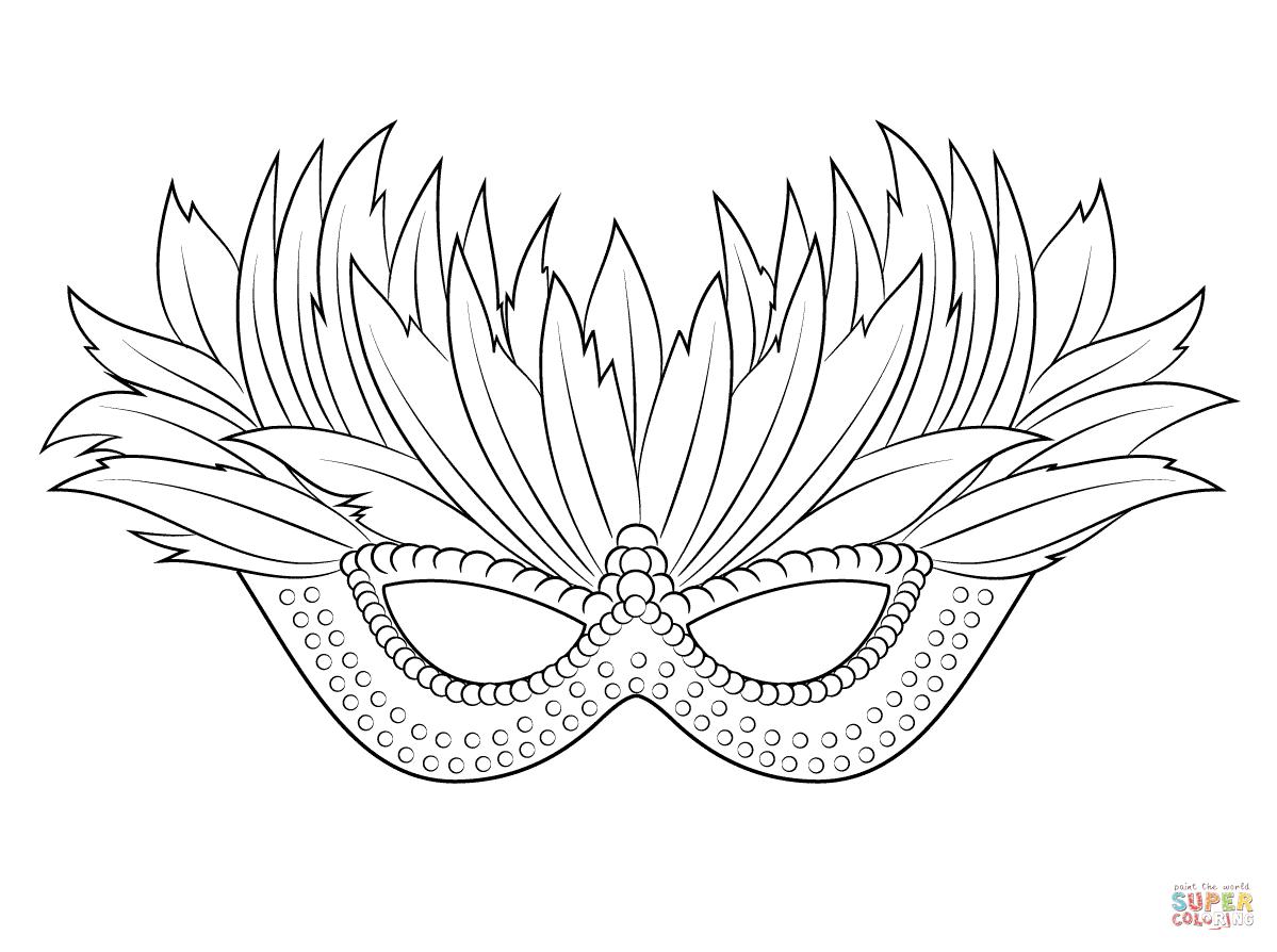 Venetian Mardi Gras Mask Coloring pages Free printable