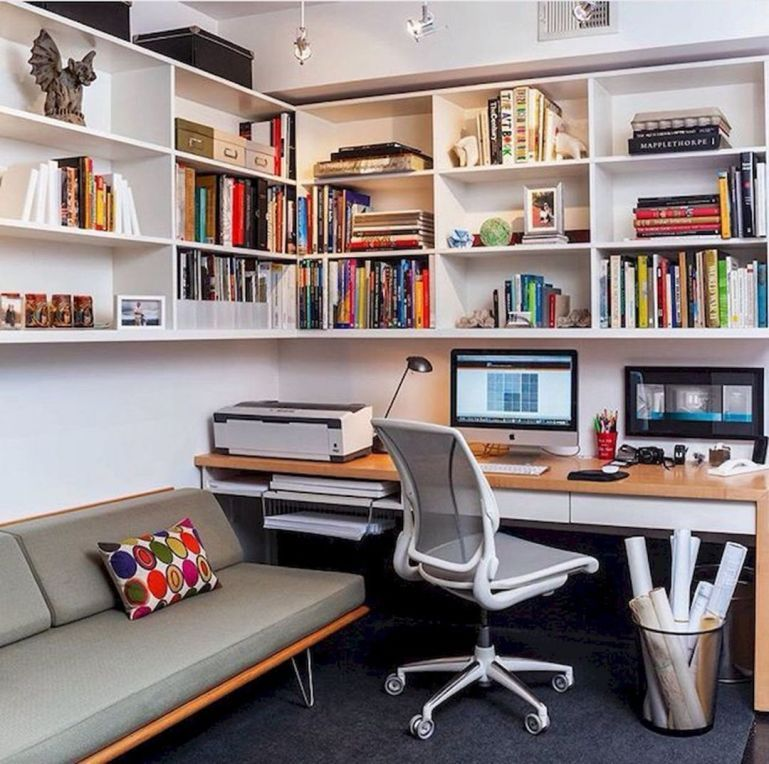 10 Cozy Small Home Office Designs For Work Efficiency In 2020 Home Office Design Small Room Design Small Guest Bedroom