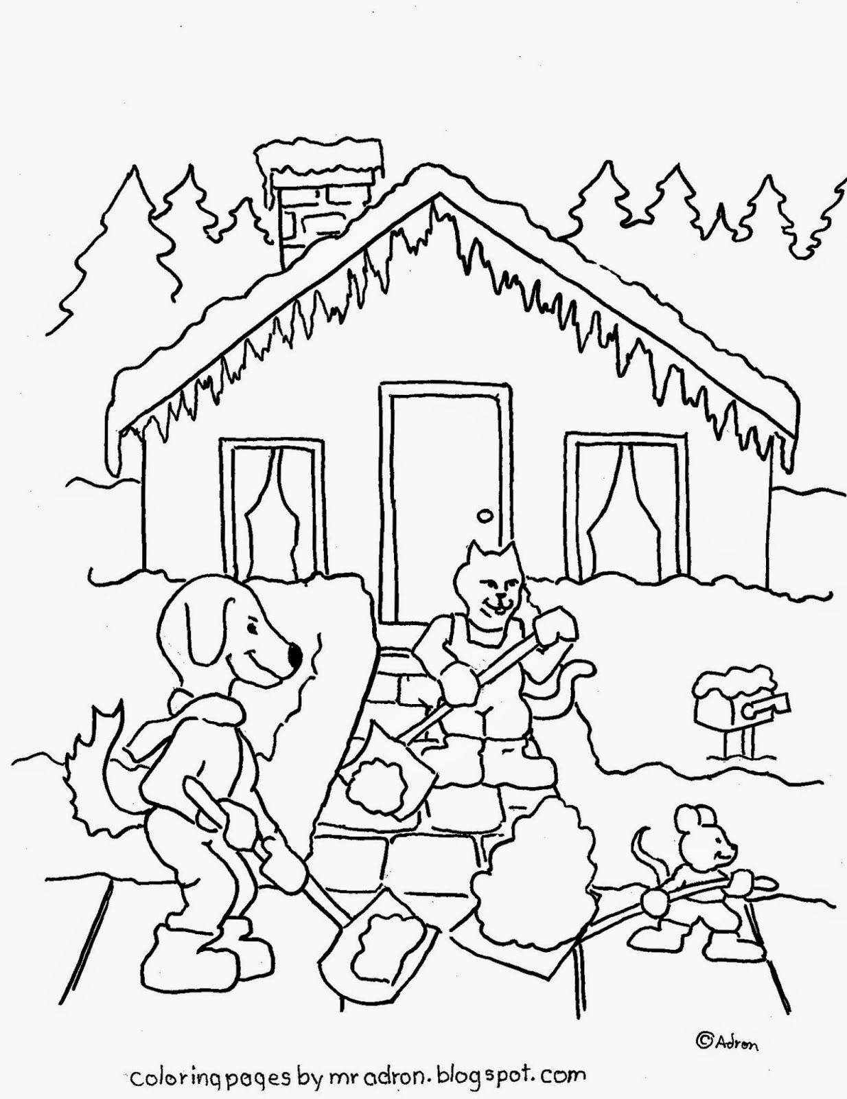 Coloring Pages For Kids By Mr Adron Free Coloring Page Animal Friends Shovel Snow Animals Friends Coloring Pages Free Coloring Pages