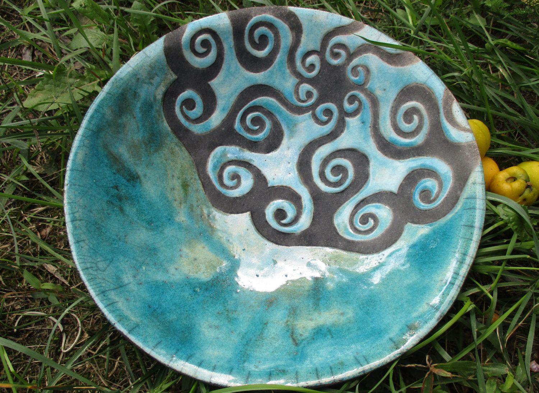turquoise ceramic bowl raku, Hanja by htceram on Etsy