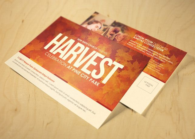 Harvest Celebration Church Postcard Template These Beautiful - Event postcard template