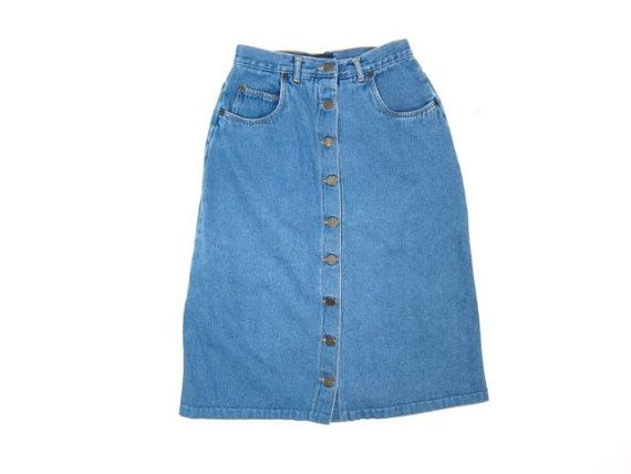 Button Up Jean Skirt 80s Denim Skirt with Pockets Button Front ...