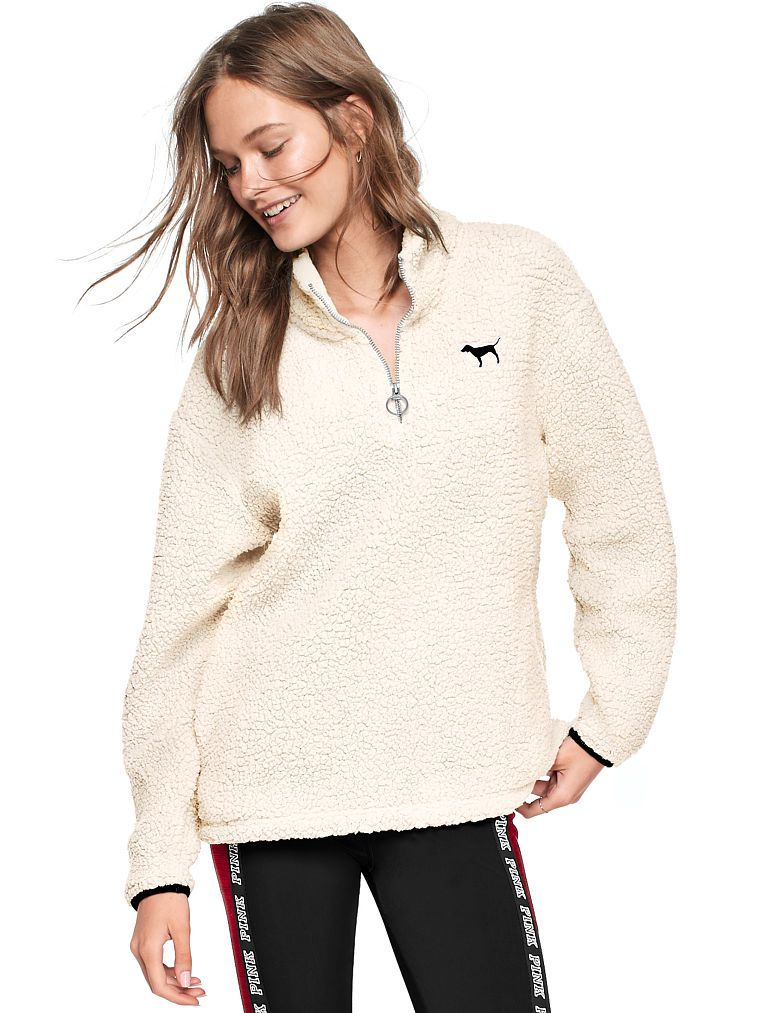 Red//white Victorias Secret PINK High-Low Half-Zip Pullover